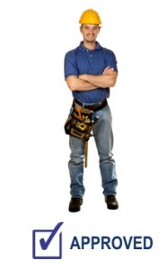 isolated standing young worker on white background