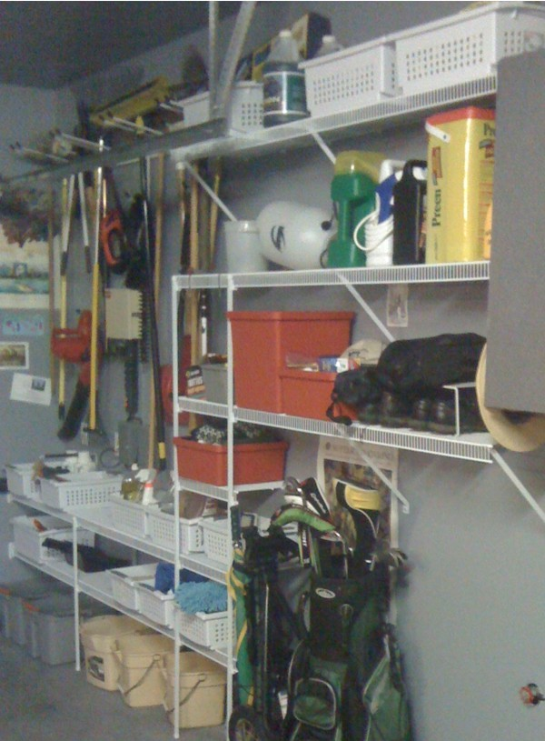 Reclaim your garage with sturdy wire shelving and tool organizers.
